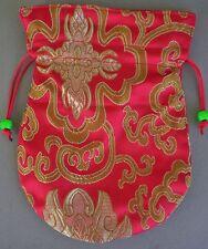 Embroidered Silk Prayer Bead Mala Bag RED w/ Drawstring