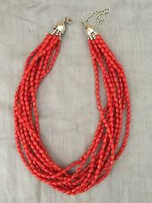 Jay King Sterling Silver 10 Strand Red Coral Bead Necklace,18 Inch With Extender