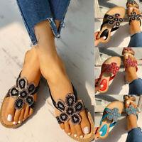 Women Bohemia Glitter Sandals Casual Flat Flip Flops Beach Thong Silpper Shoes