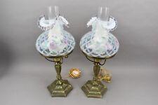 Fenton Handpainted Glass Student Lamp Purple Lavender Flowers