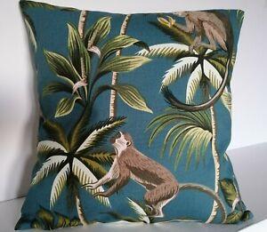 "16"" Cushion Cover Monkeys Tropical Trees Teal Green"