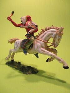Elastolin: 6843 Indianer auf Pferd mit Steinbeil, BV2a, 7 cm