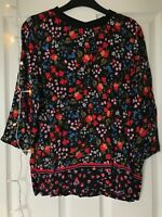 Ladies Next Petite Size UK 8 Black Floral Top With Rounded Collar