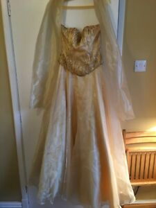 Gold Strapless Ball Gown By Dynasty (London) Size 8 With Matching Shoulder Wrap.