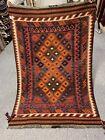 3.4X5 FTHandmade vintage Uzbek Maimana Vegetable Dye Natural Colors Wool Kellim