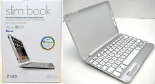 Zagg Slim Book iPad Mini 1/2/3 Bluetooth Keyboard Stand Tablet Case WHITE/Silver