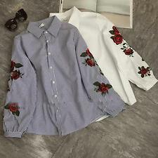 Women Floral Embroidery Stripe Button Shirt Long Sleeve Casual Campus Blouse Top