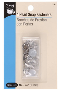 """Dritz Pearl Snap Fasteners, Size 16, 7/16"""", Pack of 4, #17-R"""