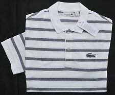 New Lacoste Large 5 Lacoste Mens short sleeve big croc polo shirt top White gray