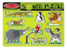 Melissa & Doug Zoo Animals Sound Effects Puzzle 8 Wooden Pegs Ages 2 Years