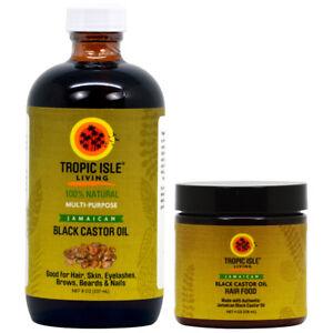 Tropic Isle Living Jamaican Black Castor Oil 8oz & Hair Food Combo w/ Applicator