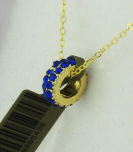 GEMSTONE 0.64 Cts BLUE SAPPHIRE SLIDE PENDANT SILVER PLATED * .925 SILVER CHAIN