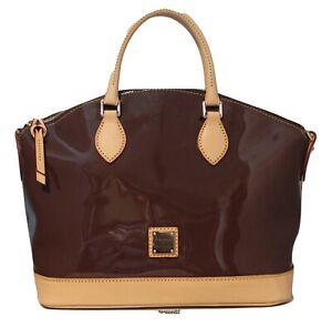 Dooney & Bourke Patent Leather Zip Satchel with Vachetta Trim Bag Coffee NWT