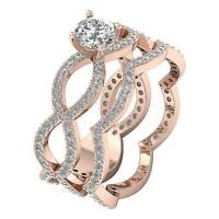 Bridal Engagement Ring Round Diamond I1 G 1.40 Ct 14K White Gold Prong Pave Set