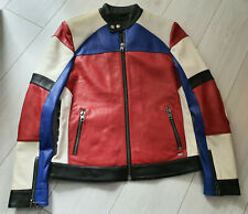 TIGHA Herren Biker Lederjacke Gordon Red, White, Black, Cobald Blue  Size M