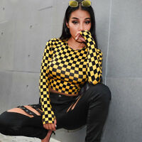 Darlingaga Autumn checkerboard fashion women's t-shirts long sleeve female top