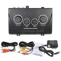 Karaoke Sound Mixer Dual Microphone Inputs Exquisite for Home KTV Party Black
