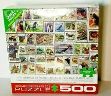 New, 500 Piece Puzzle. Vintage Animals Stamp Theme. Made by Eurographics in USA!