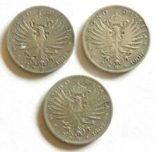 Vittorio Emanuele III - serie 1 lira aquila sabauda 1902-1906-1907