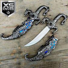 """9.25"""" Blue INLAY Wicked Fantasy DRAGON Dagger Knife Sword Steel Blade w/ SHEATH"""