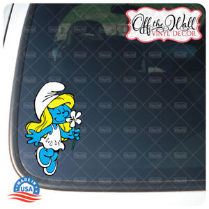 Smurfette Smelling a Daisy Vinyl Decal Sticker
