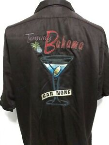 Tommy Bahama Black BAR NONE Martini Glass Short Sleeve Shirt Mens Size Large