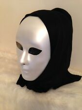 FULL FACE PLAIN HALLOWEEN MIME DANCE STAGE MASQUERADE BALL PARTY MASK WITH CAP