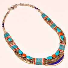 "Designer Turquoise & Lapis Lazuli With Red Coral Nepali Tibetan Necklace 18"""