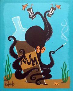 Clee Sobieski PRINT Octopus Underwater Aquatic Kitschy Cocktail Tiki Mug Rum
