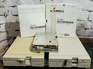 2 Commodore Amiga 1020 External 5.25 Floppy Drives, Transformer AS-IS for Parts