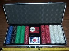 PROFESSIONAL POKER CHIP METAL CARRYING CASE LOADED WITH CHIPS, CARDS, REDUCED