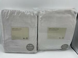 "New West Elm Cotton Velvet Drapes 48"" x 96"" ~Frost Gray~ Set of 2"