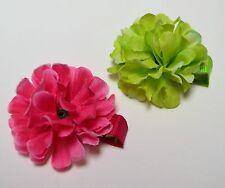 2 piece lot Apple Green & Bright Pink Silk Flower Hair Clips Toddler Girls