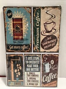"""Rustic Coffee Tin Sign w/ 5 Different Pictures about Coffee 11-3/4"""" x 7-7/8"""""""