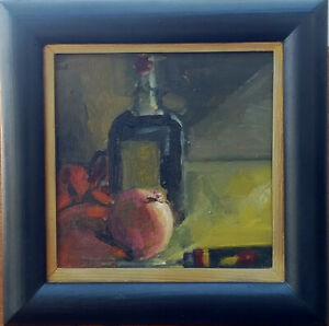 ONION VINEGAR Knife & Red Cloth Still Life 6x6 Oil Painting Impressionism Framed