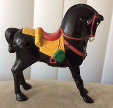 "Vintage Plastic Black Horse Figurine Toy 4.5"" x 1.5"" x 4.5"" Unbranded"
