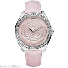 NEW GUESS PINK LEATHER STRAP WITH CRYSTALS & 3D ROSE DIAL WATCH-U85111L2