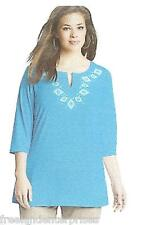 Clothing Just My Size Stud Tunic Top ~Aqua Water Color~ Size 2XL (18W-20W)