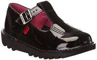 Kickers Kick Lo Aztec Infant Junior Black Patent Back To School  Shoes