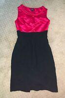 Tahari Arthur S. Levine Dress Size 2 - Pink/Black Satin Silk Formal Designer