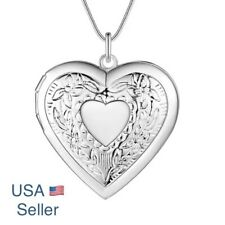 925 Sterling Silver Plated Heart Necklace, Locket Photo Pendant Christmas Gift