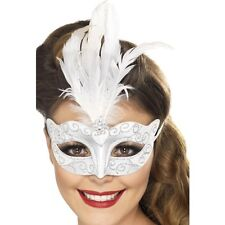 Womens Venetian Glitter Eye Mask Silver with Feather Fancy Dress Masquerade Ball
