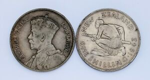 Lot of 2 Silver New Zealand 2 Shilling Coins 1934 + 1943 XF - AU