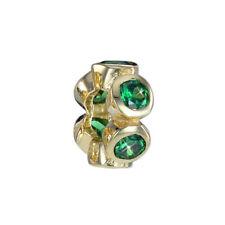MATERIA Zirkonia Beads Perle grün - Gold Bead Anhänger für Beads Armband / Kette