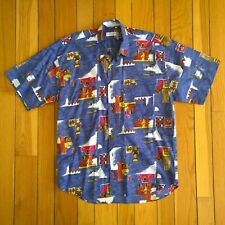 ISSEY MIYAKE Vintage Men Abstract Art Short Sleeve Button Front Hawaiian Shirt L