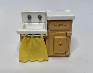 The Littles Dollhouse SINK REFRIGERATOR COMBO Metal, Vintage 1980, Mattel 1:24