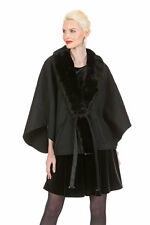 Guy Laroche Black Cashmere Cape Wrap Jacket - Ranch Mink Cashmere Luxe and Lace