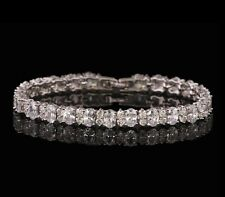 14k White Gold Tennis Bracelet made w Swarovski Crystal Bling Stone Prom Bridal
