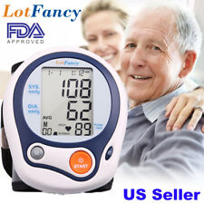 Wrist Digital Blood Pressure Monitor w/ Heart Rate + Hypertension Alert BP Cuff