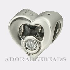 Authentic Chamilia Sterling Silver Jeweled Heart Clear CZ Bead JA-14  RETIRED